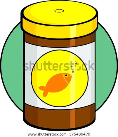 fish food bottle - stock vector