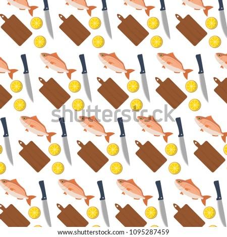 kitchen utensils background vector fish food with lemon and kitchen utensils background fish food lemon kitchen utensils background stock vector royalty