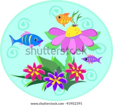 Fish Globe with Spirals and Plants Vector