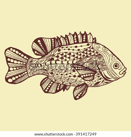 Fish Hand Drawn Fantasy With Ethnic Doodle Pattern Coloring Page