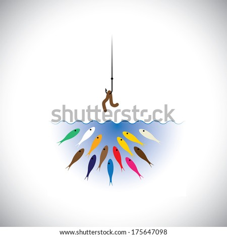 fish hook with worm as bait for fishing - vector concept. This graphic icon also represents strategies like attracting top talent by corporates, retaining talent, cheating & deception, etc - stock vector