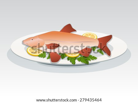 Fish icon. Crucian on white plate with lemon and herbs. Food, seafood dish symbol. Cyprinidae family. Fresh fish color sign with red fins on gray background. Vector isolated. - stock vector