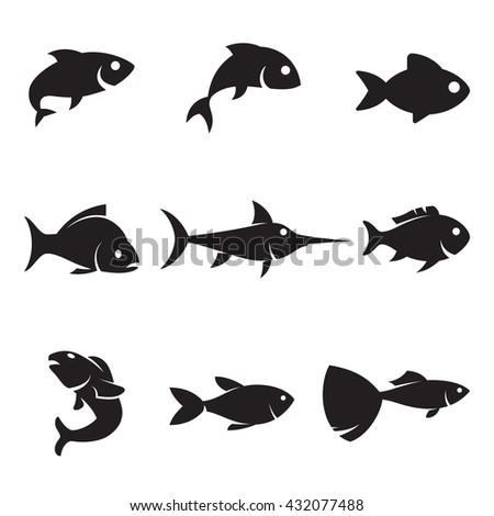 Fish icons - stock vector