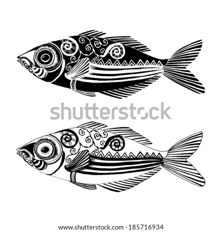 Fish illustration with ornament decoration - stock vector