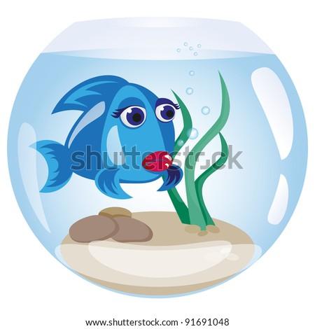 Fish in an aquarium - stock vector