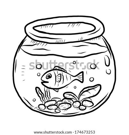Fish Bowl Cartoon Vector Illustration Black Stock Vector ...