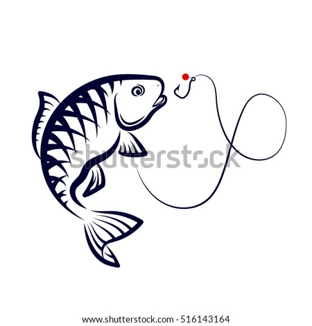 Fish jumping over a hook, a symbol for fishing