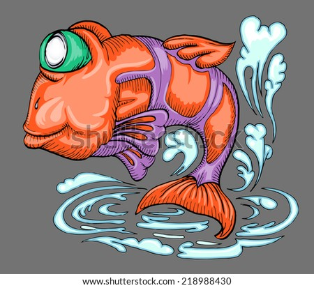 fish jumping over water hand draw illustration - stock vector