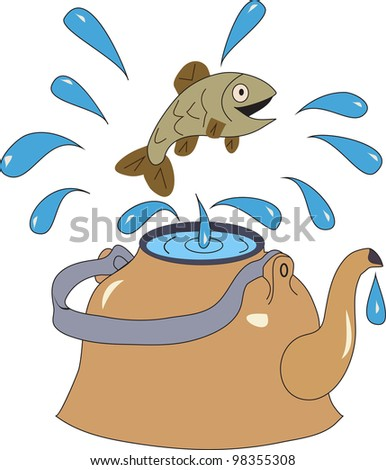 fish jumps out of the kettle with water splashing water - stock vector
