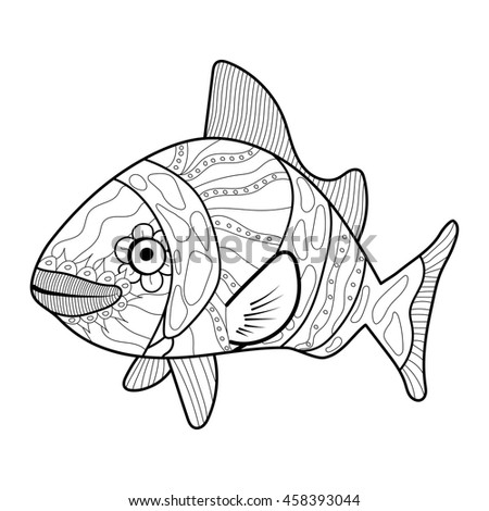 Fish line art design for coloring book