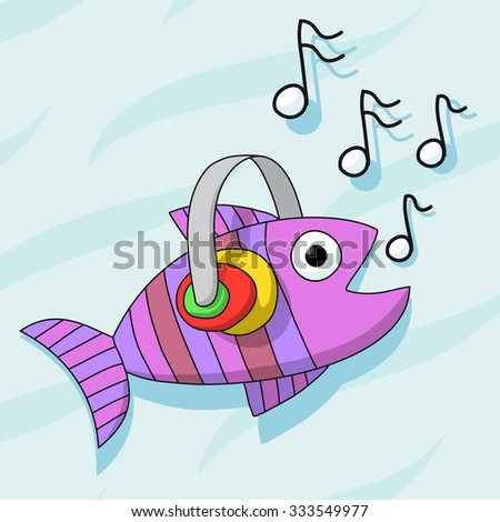 Fish listening music with headphones