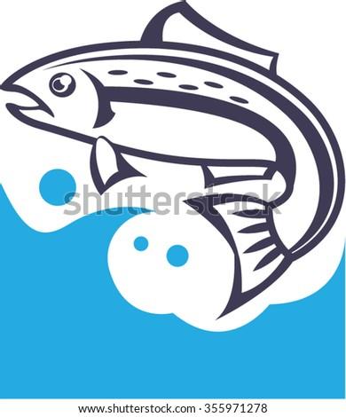 Fish logo design - stock vector