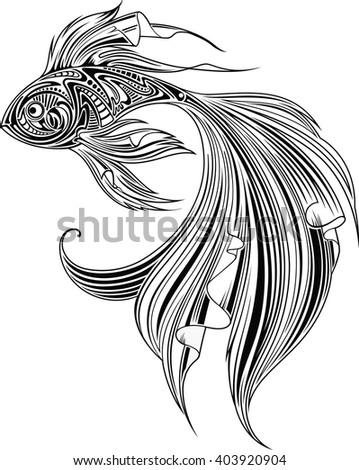 Fish, monochrome - stock vector
