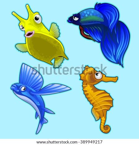 Fish of the seas and oceans isolated on a blue background. Vector.