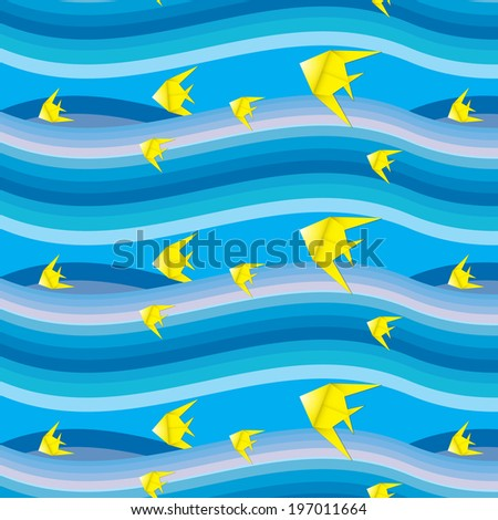 Fish origami seamless pattern background. vector - stock vector