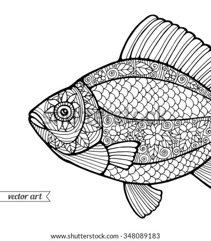 fish ornamental graphic fish floral line pattern vector zentangle coloring book - Zentangle Coloring Book