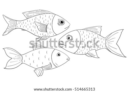 Fish. Outline drawings. Vector illustration isolated on white background