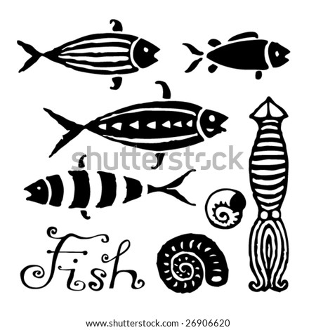 Scorpion Fish Drawing Fish Pictographic Illustration