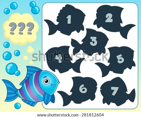 Fish riddle theme image 1 - eps10 vector illustration. - stock vector