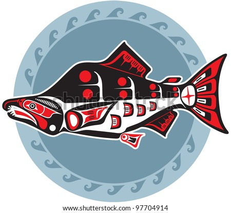 fish style spawning salmon native american style fish stock vector 88971430