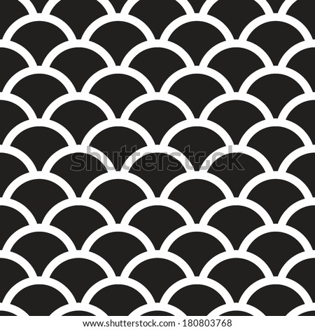 Fish scales  monochrome  Seamless Pattern - stock vector