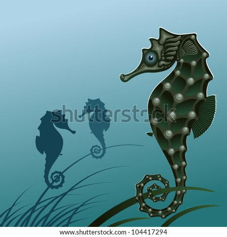 Fish sea horse. Stylized seahorse on the algae. Vector illustration. A silhouette of a sea horse. - stock vector