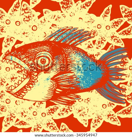 Fish seamless pattern. Colorful predatory fish pattern.