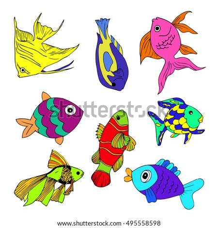 Fish set cartoon vector illustration. Cartoon sea fish animals set on background. Sea fish collection Original hand drawn illustration in vintage style. Great tropical fish collection isolated.