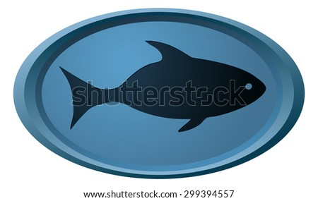 Fish Silhouette Sign on Oval Blue Shape, Vector Illustration.