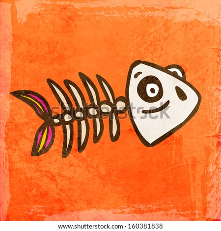 Fish Skeleton. Cute Hand Drawn Vector illustration, Vintage Paper Texture Background - stock vector