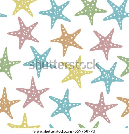 fish stars on transparent background seamless pattern baby colours