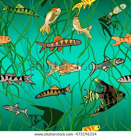 Fish swim. seamless pattern
