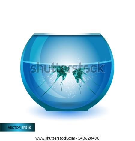 Fish swimming in the water in fishbowl - stock vector