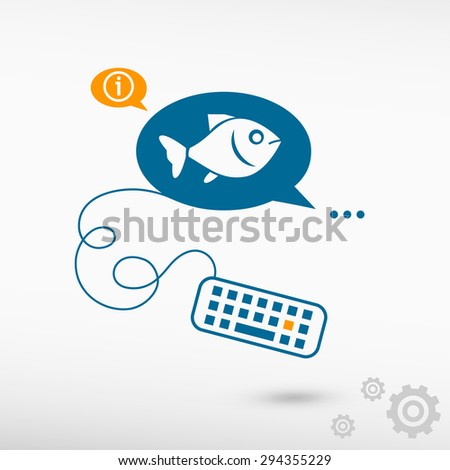 Fish Symbol Keyboard On Chat Speech Stock Vector 294355229