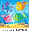 Fish theme image 1 - vector illustration. - stock vector