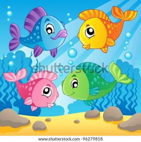 Fish theme image 1 - vector illustration. - stock vector