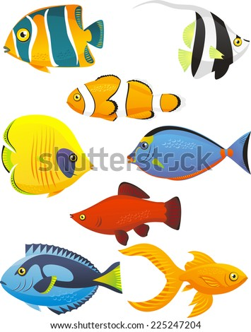 Fish Tropical Fishes Shoal, with eight 8 different fish in different colors and sizes. Fish vector illustration cartoon. - stock vector