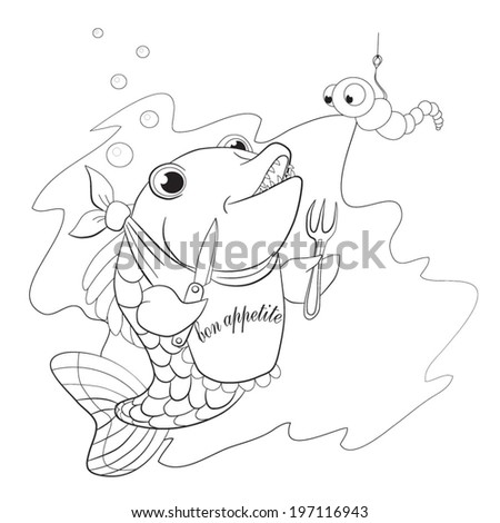 Fish with knife and fork in the fins preparing to eat the worm. Coloring book.