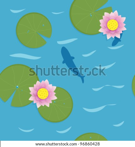 Fish with Water Lotus. Vector pattern. - stock vector