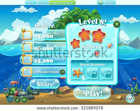 Video game screen stock images royalty free images for Fish world games