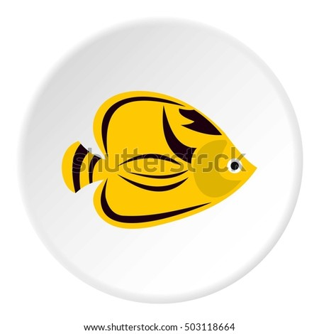 Fish yellow tang icon. Flat illustration of fish yellow tang vector icon for web