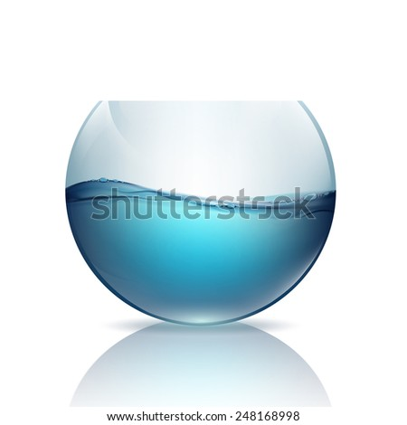 fishbowl with water isolated on a white background - stock vector