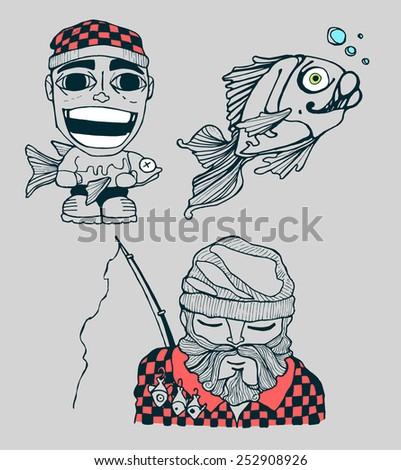 Fisher Men Hand Drawn Vector Illustration Stock Vector 252908926