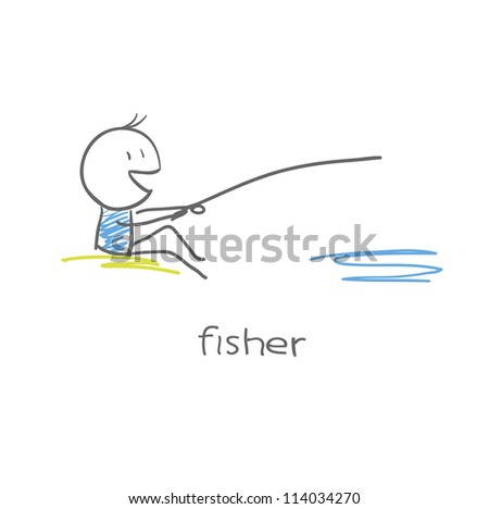 Fisherman - stock vector
