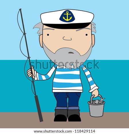 fisherman - stock vector
