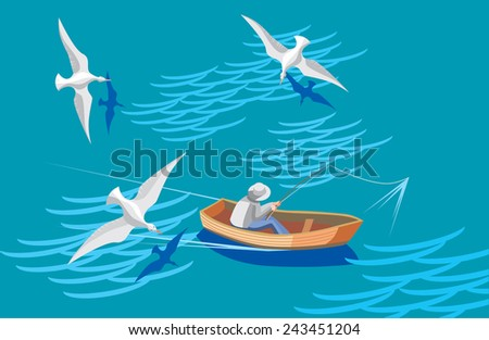 fisherman and seagulls
