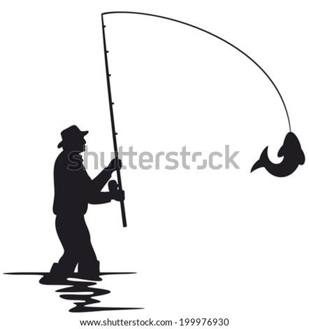fisherman caught a fish silhouette (fisherman and fish silhouette)  - stock vector