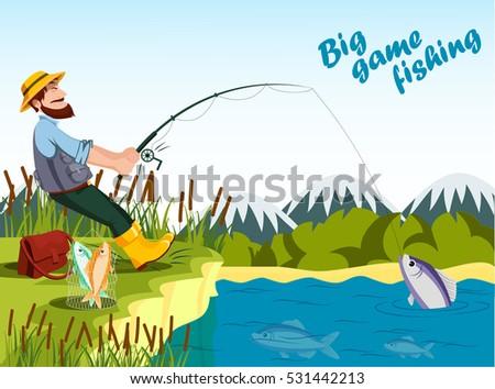 векторная иллюстрация в рейтинге M Rank Fisherman Fishing