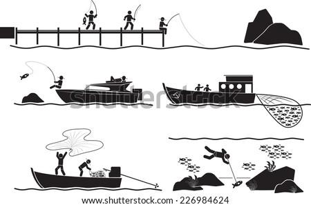 fisherman icon set - stock vector