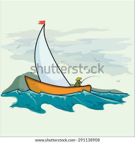 Fisherman in a boat catching fish in the open sea near the island. Fishing in an Open Sea. Vector illustration.